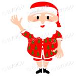 Australian Aussie Summer Santa Father Christmas waving one arm