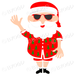 Australian Aussie Summer Santa Father Christmas waving one arm in sunglasses