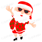 Australian Aussie Summer Santa Father Christmas dancing in sunglasses
