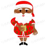 Dark skinned Australian Aussie Summer Santa Father Christmas with gift