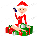 Female blonde Christmas Santa with brown eyes sitting on red and green gifts