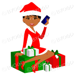 Female dark skinned Christmas Santa with short black hair sitting on red and green gifts