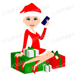 Female blonde Christmas Santa with blue eyes sitting on red and green gifts