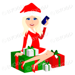 Female with long blonde hair and blue eyes Christmas Santa sitting on red and green gifts