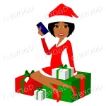 Female dark skinned Christmas Santa with medium length black hair sitting on red and green gifts