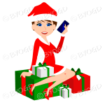 Female Christmas Santa with short brown hair sitting on red and green gifts