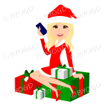 Female with long blonde hair and brown eyes Christmas Santa sitting on red and green gifts