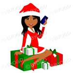Dark skinned female dark skinned Christmas Santa with long black hair sitting on red and green gifts