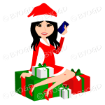 Female Christmas Santa with long black hair sitting on red and green gifts