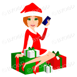 Female Christmas Santa with medium length red ginger hair sitting on red and green gifts
