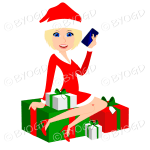 Female Christmas Santa with medium length blonde hair and blue eyes sitting on red and green gifts