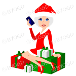 Female Christmas Santa with medium length silver grey hair and blue eyes sitting on red and green gifts