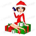 Female Christmas Santa with medium length brown hair sitting on red and green gifts