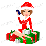 Female Christmas Santa with medium length light brown hair sitting on red and green gifts