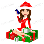 Female Christmas Santa with long brown hair sitting on red and green gifts