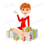 Christmas woman Santa with short red ginger hair sitting on silver and gold gifts