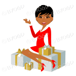 Dark skinned Christmas woman Santa with short black hair sitting on silver and gold gifts