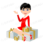 Christmas woman Santa with short black hair sitting on silver and gold gifts