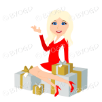 Christmas woman Santa with long blonde hair sitting on silver and gold gifts