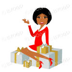 Dark skinned Christmas woman Santa with medium length black hair sitting on silver and gold gifts