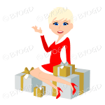 Christmas woman Santa with short blonde hair sitting on silver and gold gifts