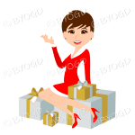 Christmas woman Santa with short brown hair sitting on silver and gold gifts