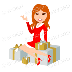 Christmas woman Santa with long ginger red hair sitting on silver and gold gifts