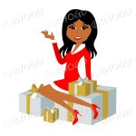 Dark skinned Christmas woman Santa with long black hair sitting on silver and gold gifts
