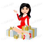 Christmas woman Santa with long black hair sitting on silver and gold gifts