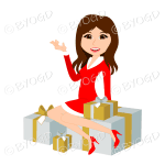 Christmas woman Santa with long brown hair sitting on silver and gold gifts