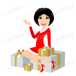 Christmas woman Santa with medium length black hair sitting on silver and gold gifts