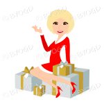 Christmas woman Santa with medium length blonde hair sitting on silver and gold gifts