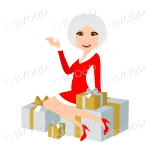 Christmas woman Santa with medium length silver grey hair sitting on silver and gold gifts
