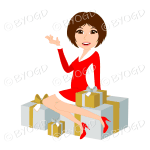 Christmas woman Santa with medium length brown hair sitting on silver and gold gifts