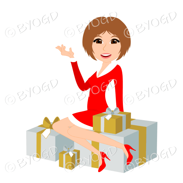 Christmas woman Santa with medium length light brown hair sitting on silver and gold gifts