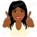 Thumbs up woman with long black hair and yellow top