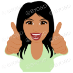 Thumbs up woman with long black hair and green top