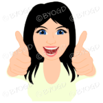 Thumbs up woman with long black hair and cream top