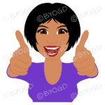 Thumbs up woman with short black hair and purple top