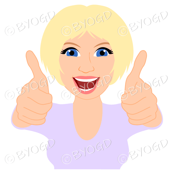 Thumbs up woman with short blonde hair and purple top