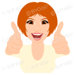 Thumbs up woman with short ginger red hair and yellow top