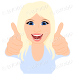 Thumbs up woman with long blonde hair and blue top