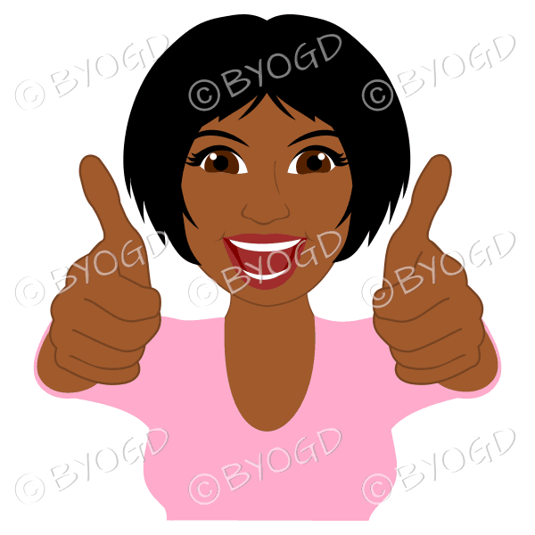 Thumbs up woman with short black hair and pink top