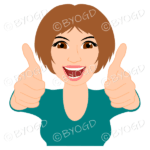 Thumbs up woman with short brown hair and turquoise blue top