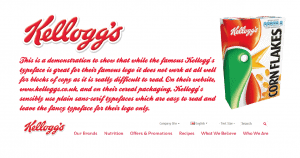 Kellogs typeface example