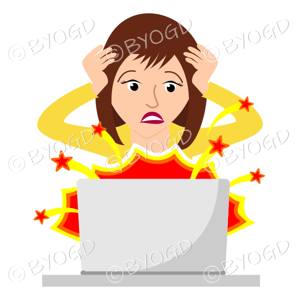 Woman with brown hair in despair wearing yellow with laptop exploding