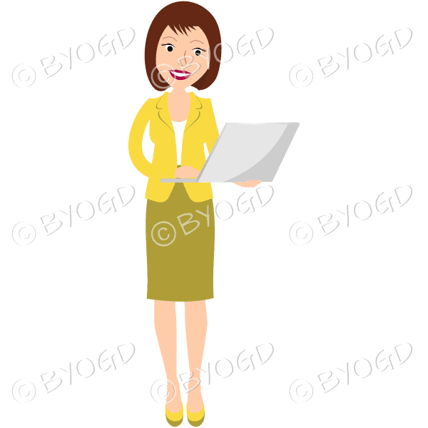 (Yellow top) A woman standing and holding a laptop
