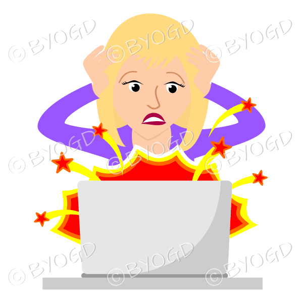 (Purple top) A woman sitting in front of a broken laptop