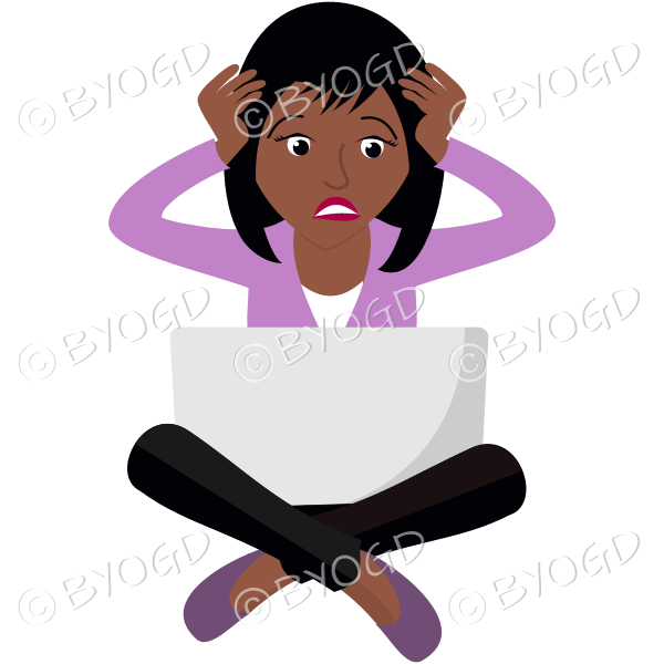 (Pink top) An anxious woman sitting cross legged with her laptop
