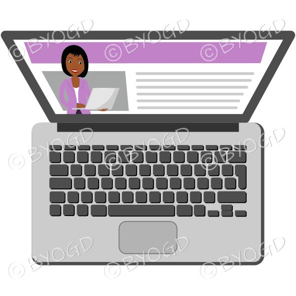 (Pink top) A laptop with a woman with short black hair on the screen